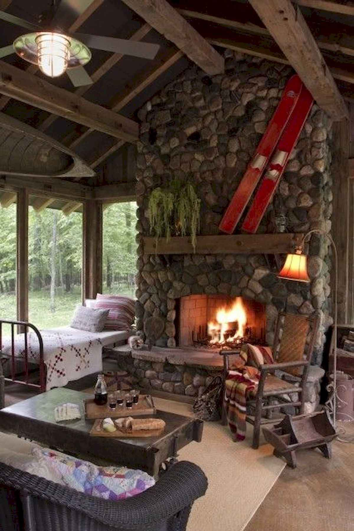 1200 1802 In 60 Awesome Log Cabin Homes Fireplace Design Ideas